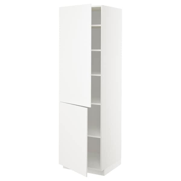 METOD Høyskap med hylleplater/2 dører, hvit/Veddinge hvit, 60x60x200 cm