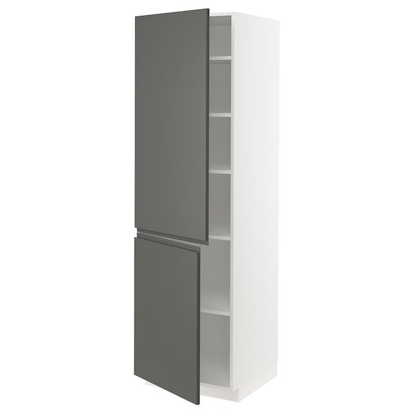 METOD Høyskap med hylleplater/2 dører, hvit/Voxtorp mørk grå, 60x60x200 cm