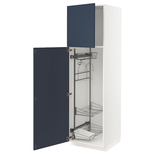 METOD Høyskap med rengjøringsinnredning, hvit Axstad/matt blå, 60x60x200 cm