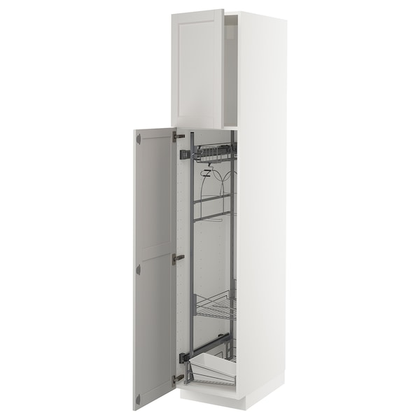 METOD Høyskap med rengjøringsinnredning, hvit/Lerhyttan lys grå, 40x60x200 cm