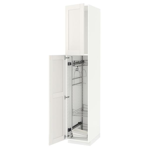 METOD Høyskap med rengjøringsinnredning, hvit/Sävedal hvit, 40x60x220 cm