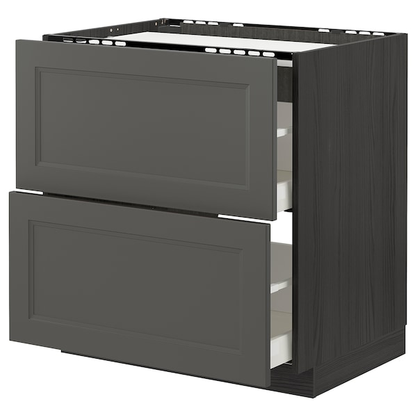 METOD / MAXIMERA benkeskap f pltopp/2 sk svart/Axstad mørk grå 80.0 cm 61.6 cm 88.0 cm 60.0 cm 80.0 cm