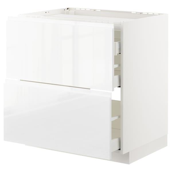 METOD / MAXIMERA benkeskap f platetopp/2 fr/3 sku hvit/Voxtorp høyglanset/hvit 80.0 cm 62.1 cm 88.0 cm 60.0 cm 80.0 cm