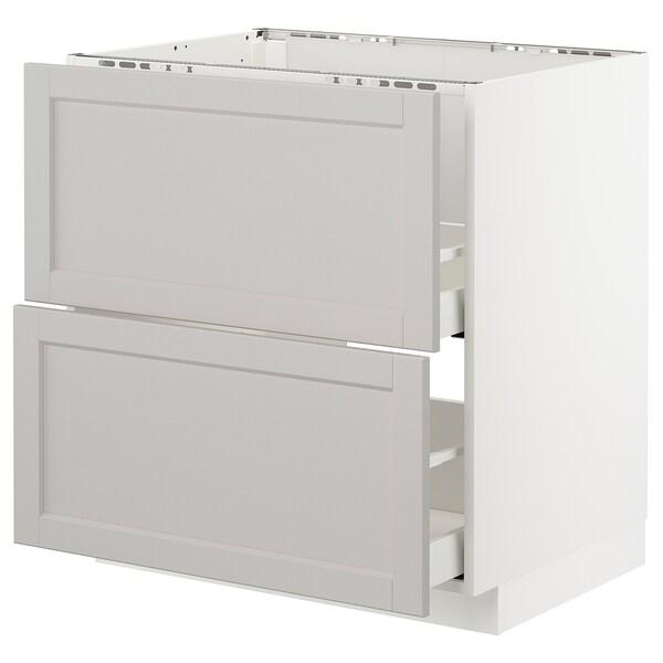 METOD / MAXIMERA benkesk f oppv +2 fr/2 sk hvit/Lerhyttan lys grå 80.0 cm 61.9 cm 88.0 cm 60.0 cm 80.0 cm