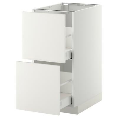 METOD / MAXIMERA benkeskap 2 fr/2 h skuff hvit/Häggeby hvit 40.0 cm 61.6 cm 88.0 cm 60.0 cm 80.0 cm