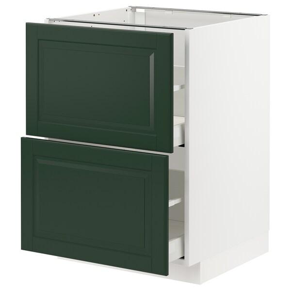 METOD / MAXIMERA Benkeskap 2 fr/2 h skuff, hvit/Bodbyn mørk grønn, 60x60 cm