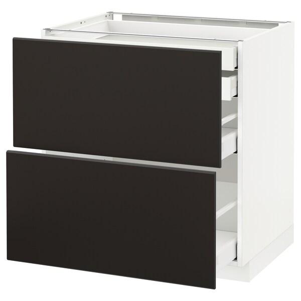 METOD / MAXIMERA Benkeskap 2 fr/2 l/1 m/1 h skuff, hvit/Kungsbacka antrasitt, 80x60 cm