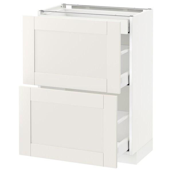 METOD / MAXIMERA Benkeskap 2 fronter/3 skuffer, hvit/Sävedal hvit, 60x37 cm