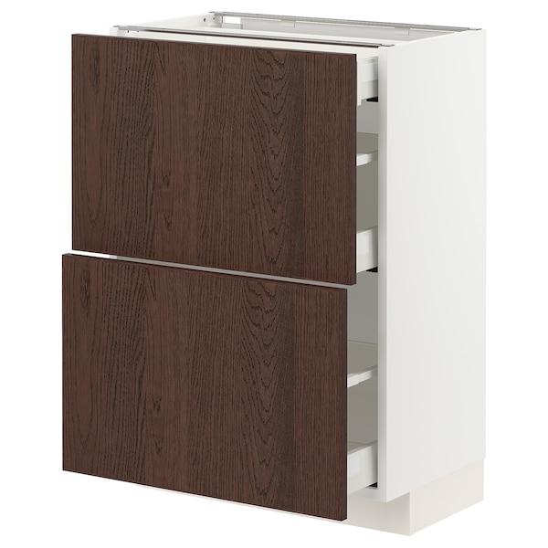 METOD / MAXIMERA Benkeskap 2 fronter/3 skuffer, hvit/Sinarp brun, 60x37 cm