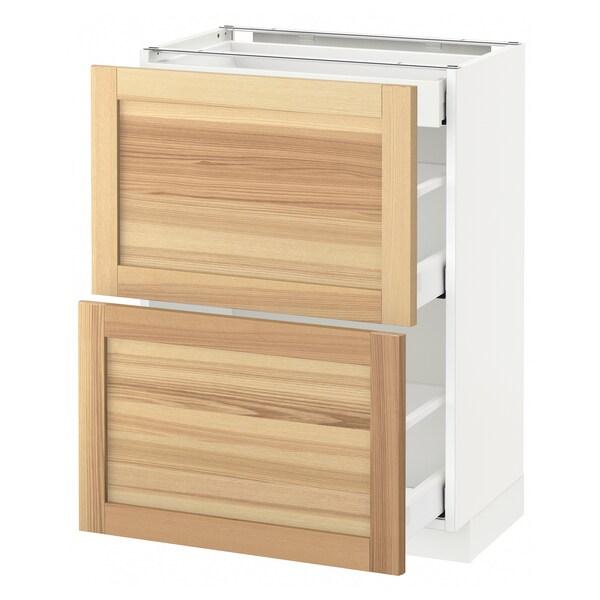 METOD / MAXIMERA Benkeskap 2 fronter/3 skuffer, hvit/Torhamn ask, 60x37 cm