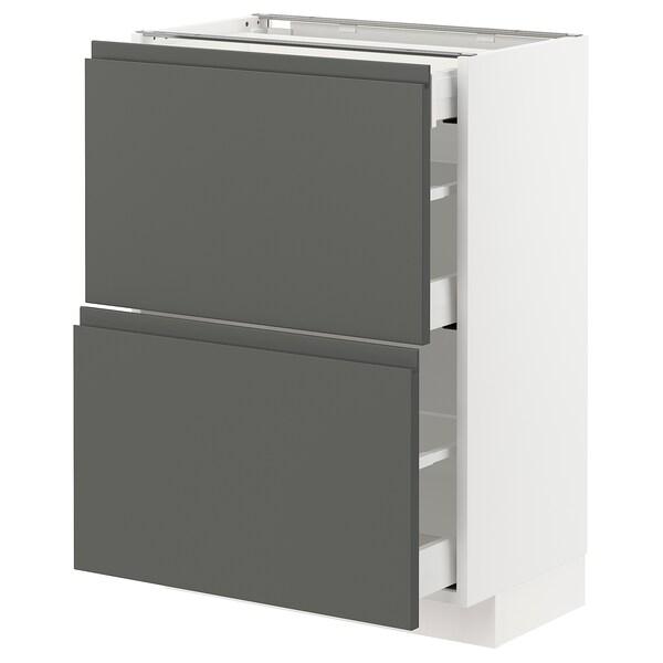 METOD / MAXIMERA Benkeskap 2 fronter/3 skuffer, hvit/Voxtorp mørk grå, 60x37 cm