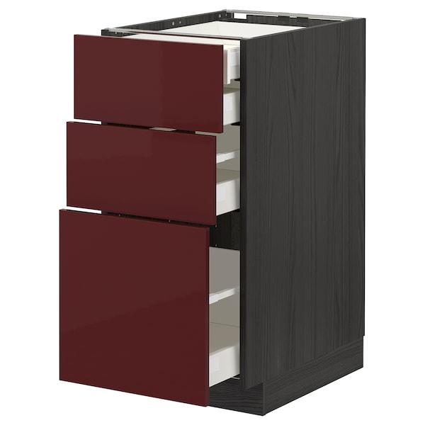 METOD / MAXIMERA Benkeskap 3 fr/2 l/1 m/1 h skuff, svart Kallarp/høyglans mørk rød-brun, 40x60 cm