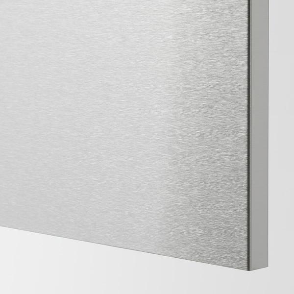 METOD / MAXIMERA Benkeskap f pltopp/2 sk, hvit/Vårsta rustfritt stål, 60x60 cm