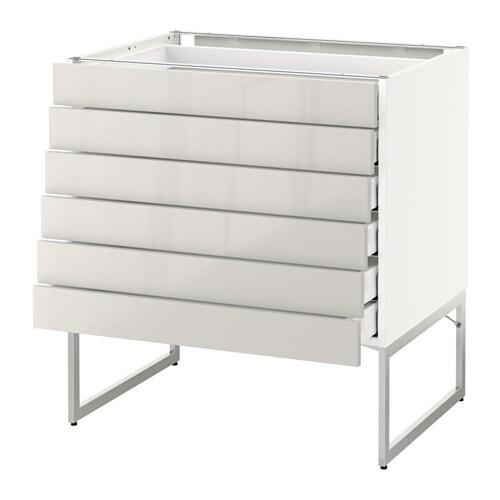 ... lave skuffer - hvit, Ringhult h?yglans lys gr?, 80x60x60 cm - IKEA