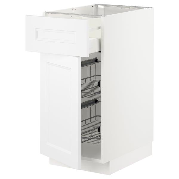 METOD / MAXIMERA Benkeskap m trådkurv/skuff/dør, hvit/Axstad matt hvit, 40x60 cm