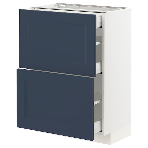 METOD / MAXIMERA Benkeskap med 2 fronter/3 skuffer, hvit Axstad/matt blå, 60x37 cm