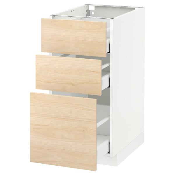 METOD / MAXIMERA Benkeskap med 3 skuffer, hvit/Askersund lyst askemønster, 40x60 cm