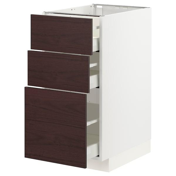 METOD / MAXIMERA Benkeskap med 3 skuffer, hvit Askersund/mørk brun askemønstret, 40x60 cm