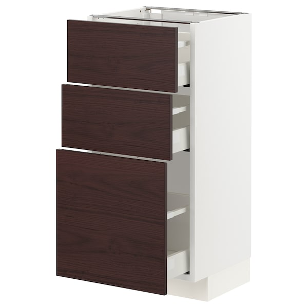 METOD / MAXIMERA Benkeskap med 3 skuffer, hvit Askersund/mørk brun askemønstret, 40x37 cm