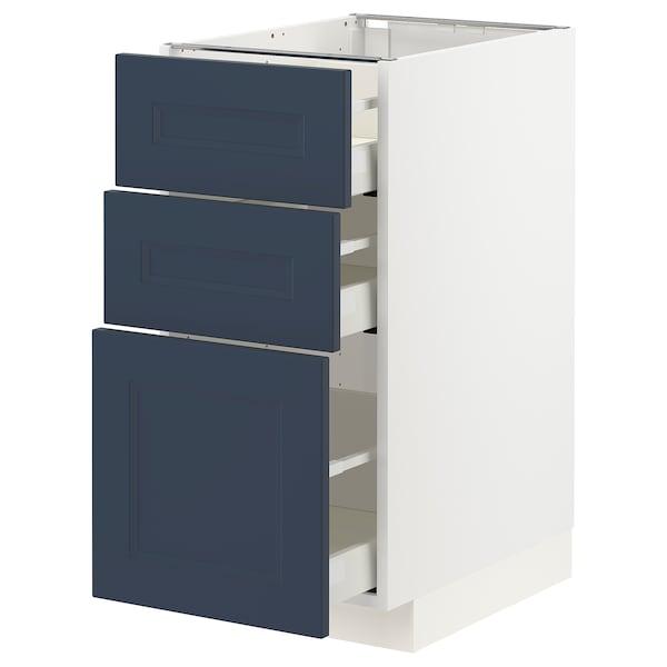 METOD / MAXIMERA Benkeskap med 3 skuffer, hvit Axstad/matt blå, 40x60 cm