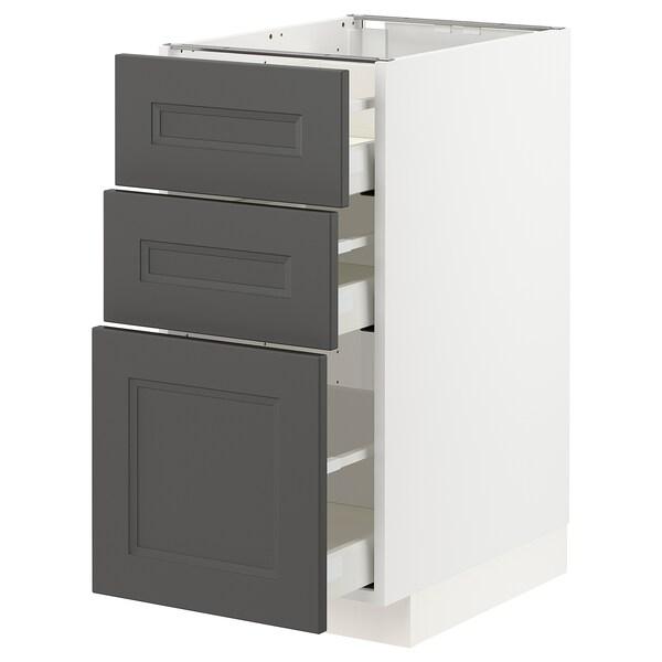 METOD / MAXIMERA Benkeskap med 3 skuffer, hvit/Axstad mørk grå, 40x60 cm
