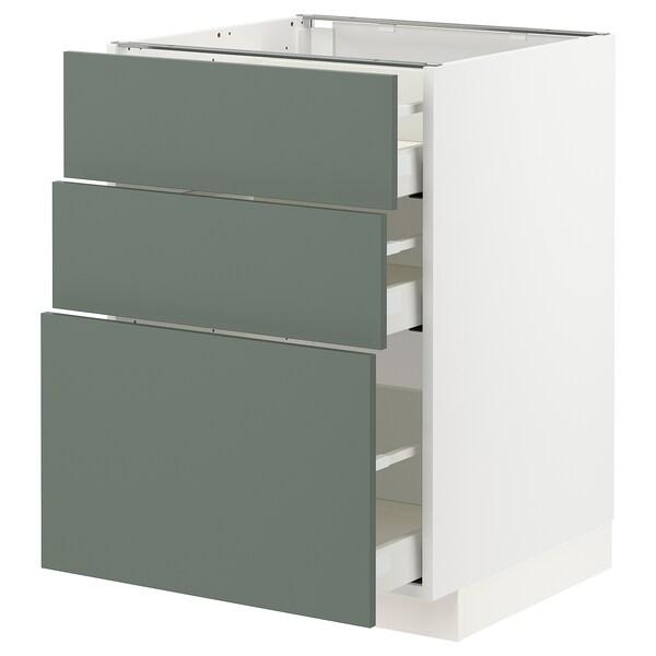 METOD / MAXIMERA Benkeskap med 3 skuffer, hvit/Bodarp grågrønn, 60x60 cm