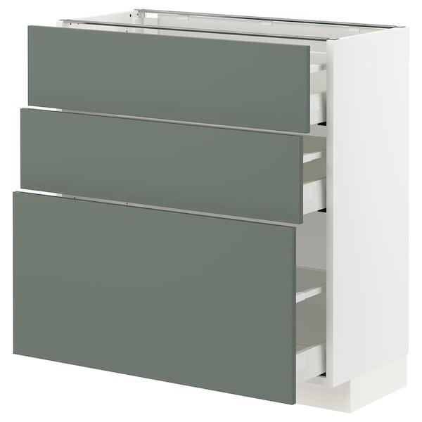 METOD / MAXIMERA Benkeskap med 3 skuffer, hvit/Bodarp grågrønn, 80x37 cm