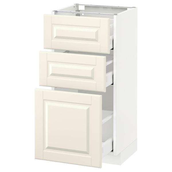 METOD / MAXIMERA Benkeskap med 3 skuffer, hvit/Bodbyn offwhite, 40x37 cm