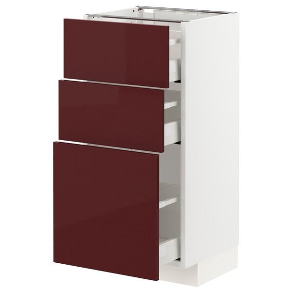 METOD / MAXIMERA Benkeskap med 3 skuffer, hvit Kallarp/høyglans mørk rød-brun, 40x37 cm