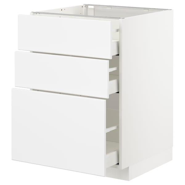 METOD / MAXIMERA Benkeskap med 3 skuffer, hvit/Kungsbacka matt hvit, 60x60 cm