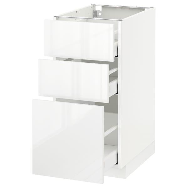 METOD / MAXIMERA Benkeskap med 3 skuffer, hvit/Ringhult hvit, 40x60 cm