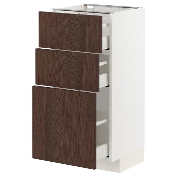 METOD / MAXIMERA Benkeskap med 3 skuffer, hvit/Sinarp brun, 40x37 cm