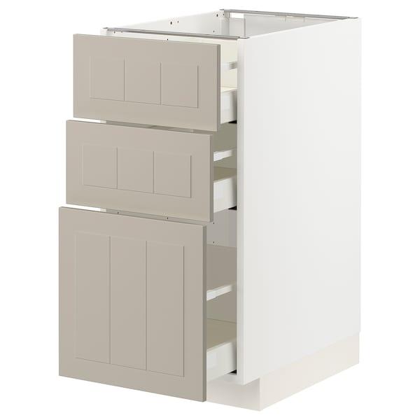METOD / MAXIMERA Benkeskap med 3 skuffer, hvit/Stensund beige, 40x60 cm