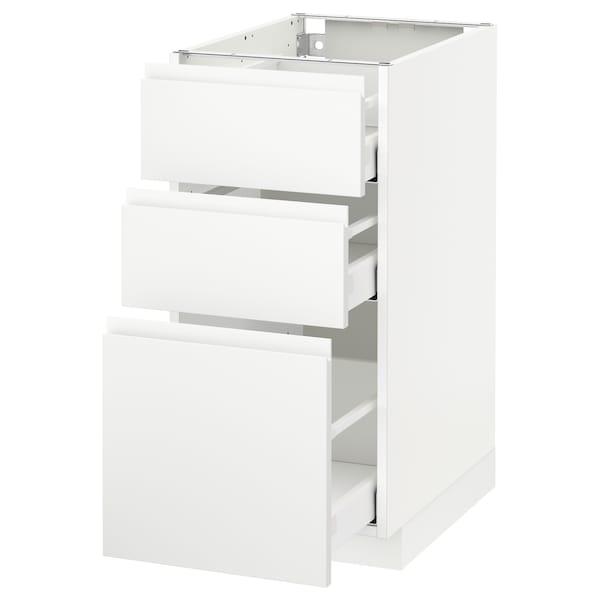 METOD / MAXIMERA Benkeskap med 3 skuffer, hvit/Voxtorp matt hvit, 40x60 cm