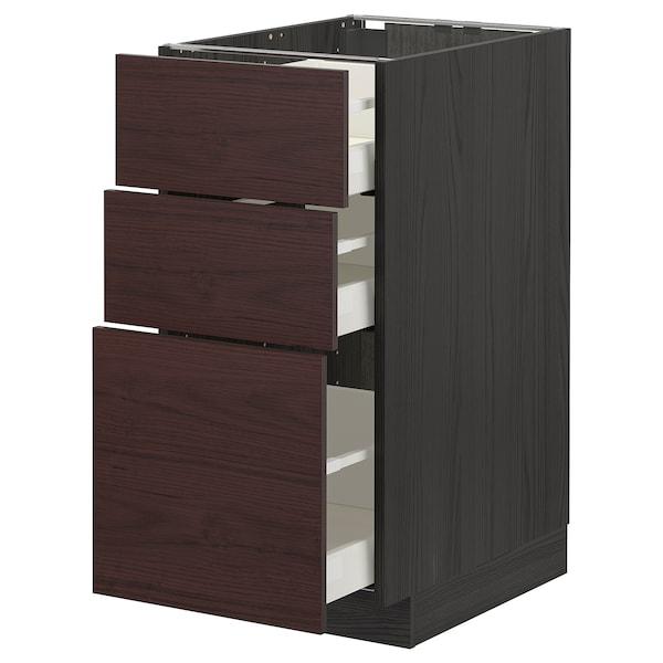 METOD / MAXIMERA Benkeskap med 3 skuffer, svart Askersund/mørk brun askemønstret, 40x60 cm
