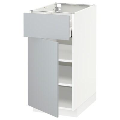 METOD / MAXIMERA Benkeskap med skuff og dør, hvit/Veddinge grå, 40x60 cm