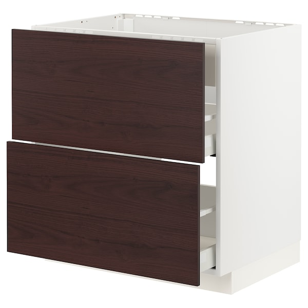 METOD / MAXIMERA Benkeskap t platetopp/vent, skuff, hvit Askersund/mørk brun askemønstret, 80x60 cm