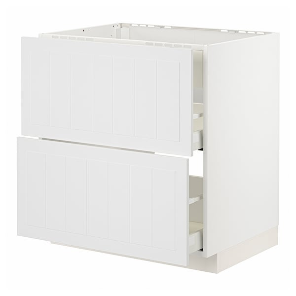 METOD / MAXIMERA Benkeskap t platetopp/vent, skuff, hvit/Stensund hvit, 80x60 cm