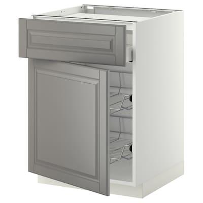 METOD / MAXIMERA Bsk til platetopp/skuff/2 trådkurv, hvit/Bodbyn grå, 60x60 cm