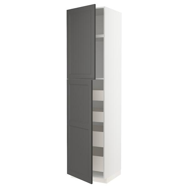 METOD / MAXIMERA høyskap med 2 dører/4 skuffer hvit/Axstad mørk grå 60.0 cm 61.9 cm 248.0 cm 60.0 cm 240.0 cm