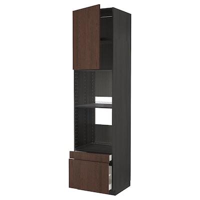 METOD / MAXIMERA Høyskap f ov/komb ov m sk/2 sk, svart/Sinarp brun, 60x60x240 cm