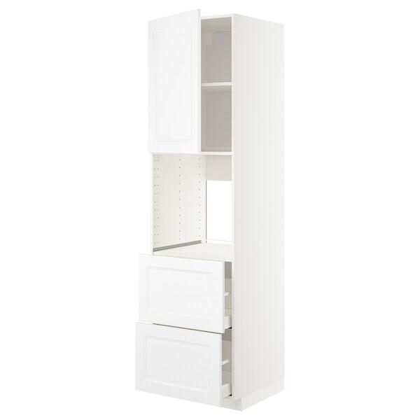 METOD / MAXIMERA Høyskap f ov m sk/2 fr/2 h skuffer, hvit/Axstad matt hvit, 60x60x220 cm