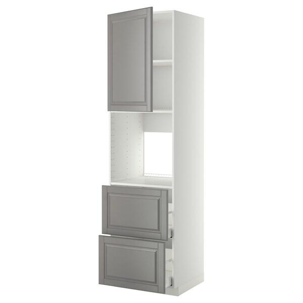 METOD / MAXIMERA Høyskap f ov m sk/2 fr/2 h skuffer, hvit/Bodbyn grå, 60x60x220 cm