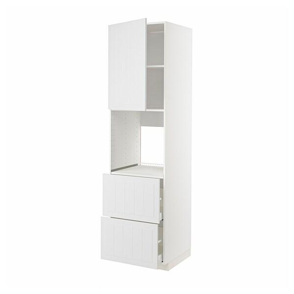 METOD / MAXIMERA Høyskap f ov m sk/2 fr/2 h skuffer, hvit/Stensund hvit, 60x60x220 cm