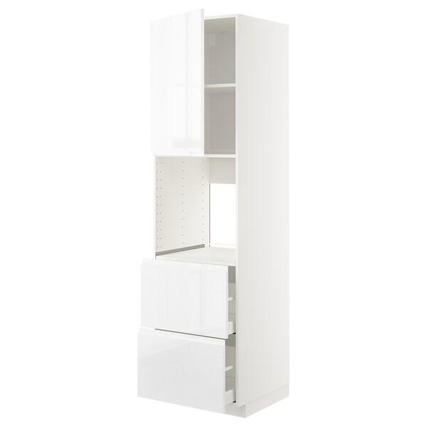 METOD / MAXIMERA Høyskap f ov m sk/2 fr/2 h skuffer, hvit/Voxtorp høyglanset/hvit, 60x60x220 cm