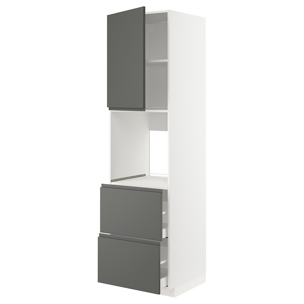 METOD / MAXIMERA Høyskap f ov m sk/2 fr/2 h skuffer, hvit/Voxtorp mørk grå, 60x60x220 cm