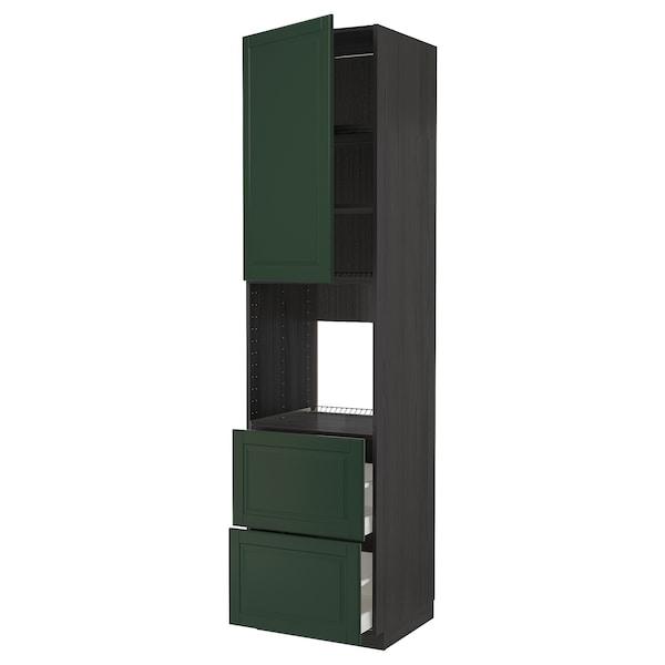 METOD / MAXIMERA Høyskap for ovn +dør/2 skuffer, svart/Bodbyn mørk grønn, 60x60x240 cm