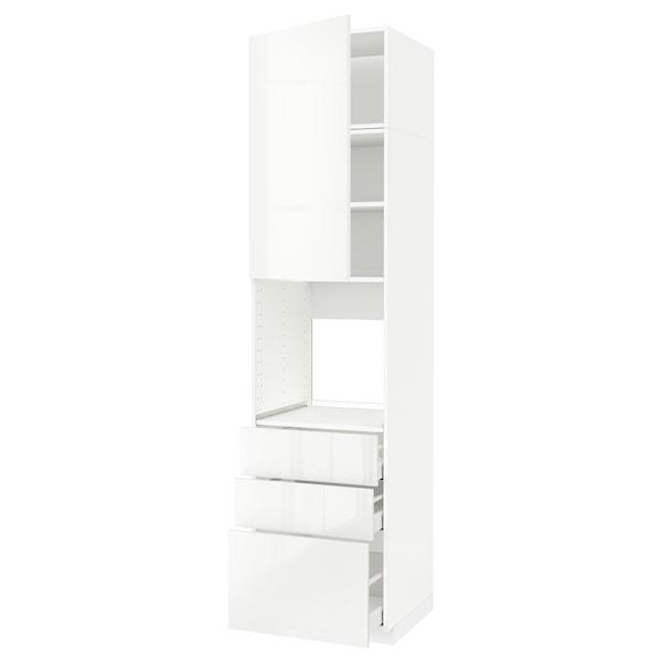 METOD / MAXIMERA Høyskap for ovn med dør/3 skuffer, hvit/Ringhult hvit, 60x60x240 cm