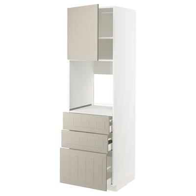 METOD / MAXIMERA Høyskap for ovn med dør/3 skuffer, hvit/Stensund beige, 60x60x200 cm