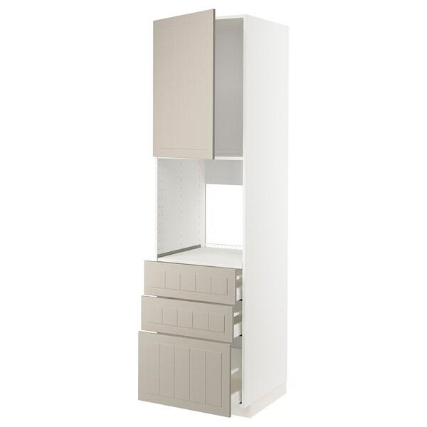 METOD / MAXIMERA Høyskap for ovn med dør/3 skuffer, hvit/Stensund beige, 60x60x220 cm